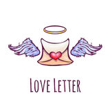 Vector illustration of love letter with wings and Stock Photo