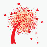 Vector illustration of a love tree. Royalty Free Stock Photo