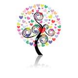 Vector illustration of a love tree Stock Photos