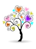 Vector illustration of a love tree Stock Images