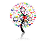 Vector illustration of a love tree Stock Photography