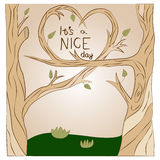Vector illustration love tree. Vector illustration with trees and hearts. eps10 Stock Photo
