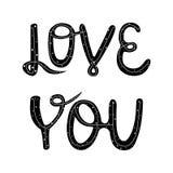 Vector illustration Love You. lettering. stock illustration