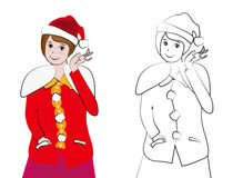 Vector illustration, lovely santa girl stock image