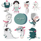 Vector illustration with lovely smiling monsters set Stock Photos