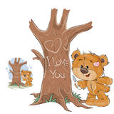 Vector illustration of a loving brown teddy bear carved on a tree trunk a heart and an inscription I Love You Stock Photos