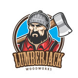 Vector illustration of lumberjack emblem Stock Image