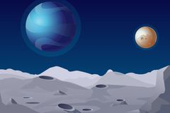 Vector illustration of Lunar landscape with craters. Beautiful planets on background. stock illustration