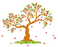 Vector illustration of lush, blossom tree with green leaves, red flowers and couple of lovely birds Stock Photography