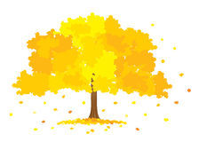 Vector illustration of lush gold tree Stock Images