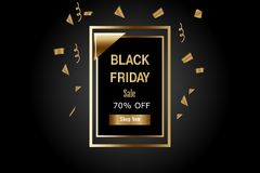 Vector Illustration. Luxury Black Friday Sale Banner with Gold confetti stock illustration