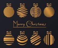 Vector illustration of luxury golden balls decoration. Merry Christmas greeting card. Vector illustration of luxury golden balls decoration with Merry Christmas Stock Images