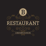 Vector illustration of a luxury restaurant logo Stock Images