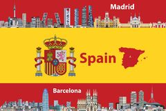 Vector illustration of Madrid and Barcelona cities skylines with flag and map of Spain on background royalty free illustration