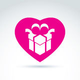 Vector illustration of a magenta gift box sign placed in a heart Royalty Free Stock Photography