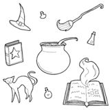 Vector illustration of magic design elements set. Hand drawn, doodle, sketch magician collection. royalty free illustration