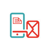 Vector illustration of mail arrow icon on smartphone screen. Stock Images