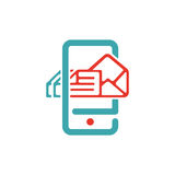 Vector illustration of mail arrow icon on smartphone screen. Royalty Free Stock Photos