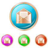 Vector illustration of mail button. Mail Sphere Icon. Set of buttons in different colors stock illustration