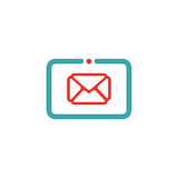 Vector illustration of mail icon on tablet. Royalty Free Stock Photography