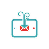Vector illustration of mail icon on tablet. Stock Images