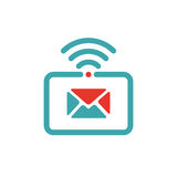 Vector illustration of mail and wlan icon on tablet pc. Royalty Free Stock Image