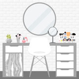 Vector illustration with make-up table, chair, mirror and cosmetics product Royalty Free Stock Photos