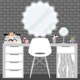 Vector illustration with make-up table, chair, mirror and cosmetics product Stock Photo