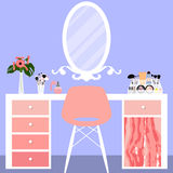 Vector illustration with make-up table, chair, mirror and cosmetics product Stock Images