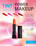 Vector Illustration with makeup lipstick product. Tint lipstick ads. Vector Illustration with makeup lipstick product Stock Photo