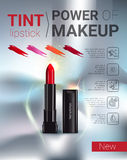 Vector Illustration with makeup lipstick product. Tint lipstick ads. Vector Illustration with makeup lipstick product Royalty Free Stock Image