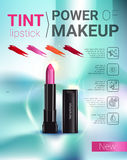 Vector Illustration with makeup lipstick product. Tint lipstick ads. Vector Illustration with makeup lipstick product Stock Image
