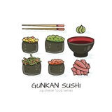 Vector illustration of Makizushi Stock Images