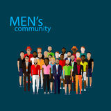 Vector illustration of male community with a large group of guys and men. Royalty Free Stock Photo