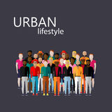 Vector illustration of male community with a large group of guys and men.  Royalty Free Stock Photography