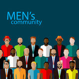 Vector illustration of male community with a large group of guys and men. urban lifestyle concept Stock Images