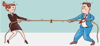 Male and female conflict. Vector illustration of a male female conflict royalty free illustration