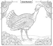 Vector illustration with male Great Bustard or Otis tarda in contour style isolated on white background with ornate corner. Stock Photo