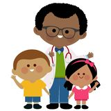 Male pediatrician and children Stock Images