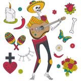 Vector set of elements for Day of the Dead Royalty Free Stock Photos