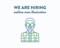 Vector illustration of a man with beard who is Stock Image