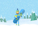 Vector illustration of the man carrying a snowboard by his hand and waving with another hand on snowy mountains and fir trees back Stock Photos