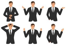 Man character expressions with hands gesture, cartoon businessman wit different emotion. Vector illustration of a man character expressions with hands gesture Stock Photos