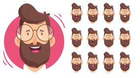 Man character for your scenes.Character ready for animation. Funny cartoon. Set for character speaks animations. Vector illustration of man character for your Stock Photography