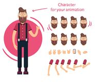 Man character for your scenes.Character ready for animation. Funny cartoon. Set for character speaks animations. Vector illustration of man character for your Stock Image