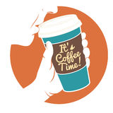 Vector Illustration Man drinking coffee with hand holding dispos royalty free illustration