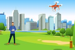 Man Flying Drone in a Park Illustration Royalty Free Stock Photography