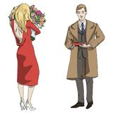 Vector illustration man and girl with a box of candies and flowers vector illustration