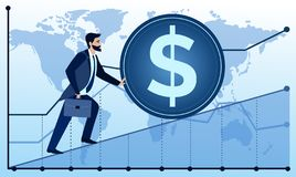 Vector illustration of man is going to succeed on world map and graph background. Businessman is trying to push up a. Coin. Business concept illustration in vector illustration
