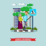 Vector illustration of man helping elderly woman to cross street. Vector illustration of young man helping elderly woman to cross the street. Voluntary stock illustration
